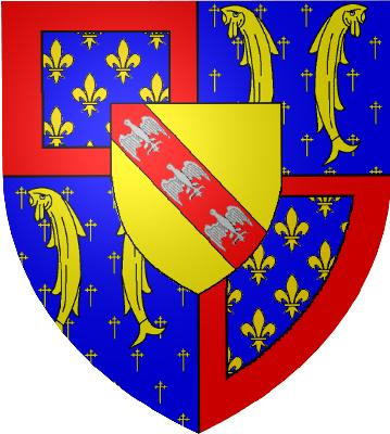 Coat of arms of Reignier in 1420. It is composed by the coat of arms of Anjou-Valois (top left and bottom right), of the Duchy of Bar (top right and bottom left), and of the Duchy of Lorraine (superimposed shield).