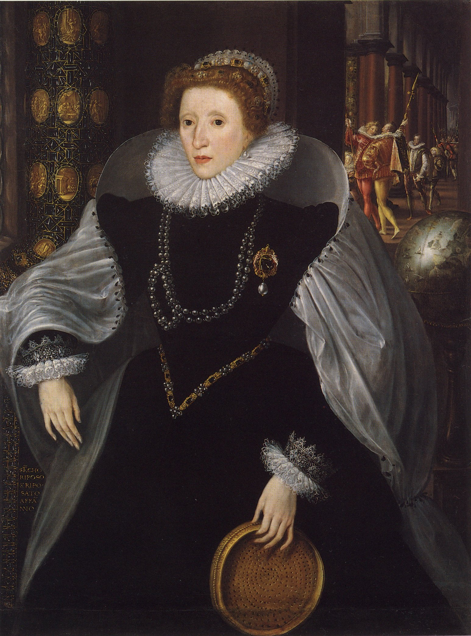 The 1583 Sieve portrait of Elizabeth I. The Sieve representes her virginity.