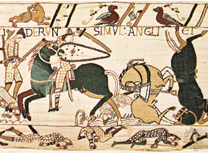 Detail from the Bayeux Tapestry depicting a scene from the Battle of Hastings