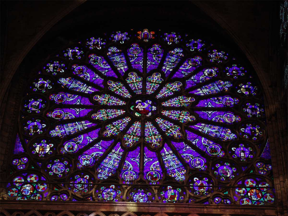 Rose Window in the south transept of St. Denis Cathedral