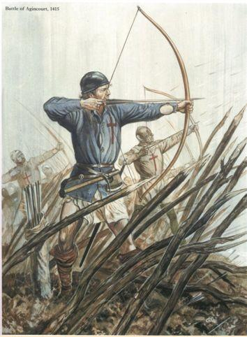 Modern painting of a longbow man behind palings