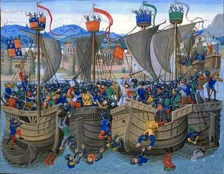 The Battle of Sluys from Froissart's Chronicles