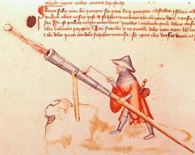 Manuscript drawing of a gonne, or hand cannon from the 1400's