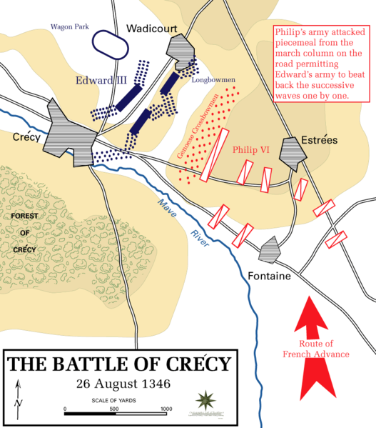 Map of the Battle of Crécy