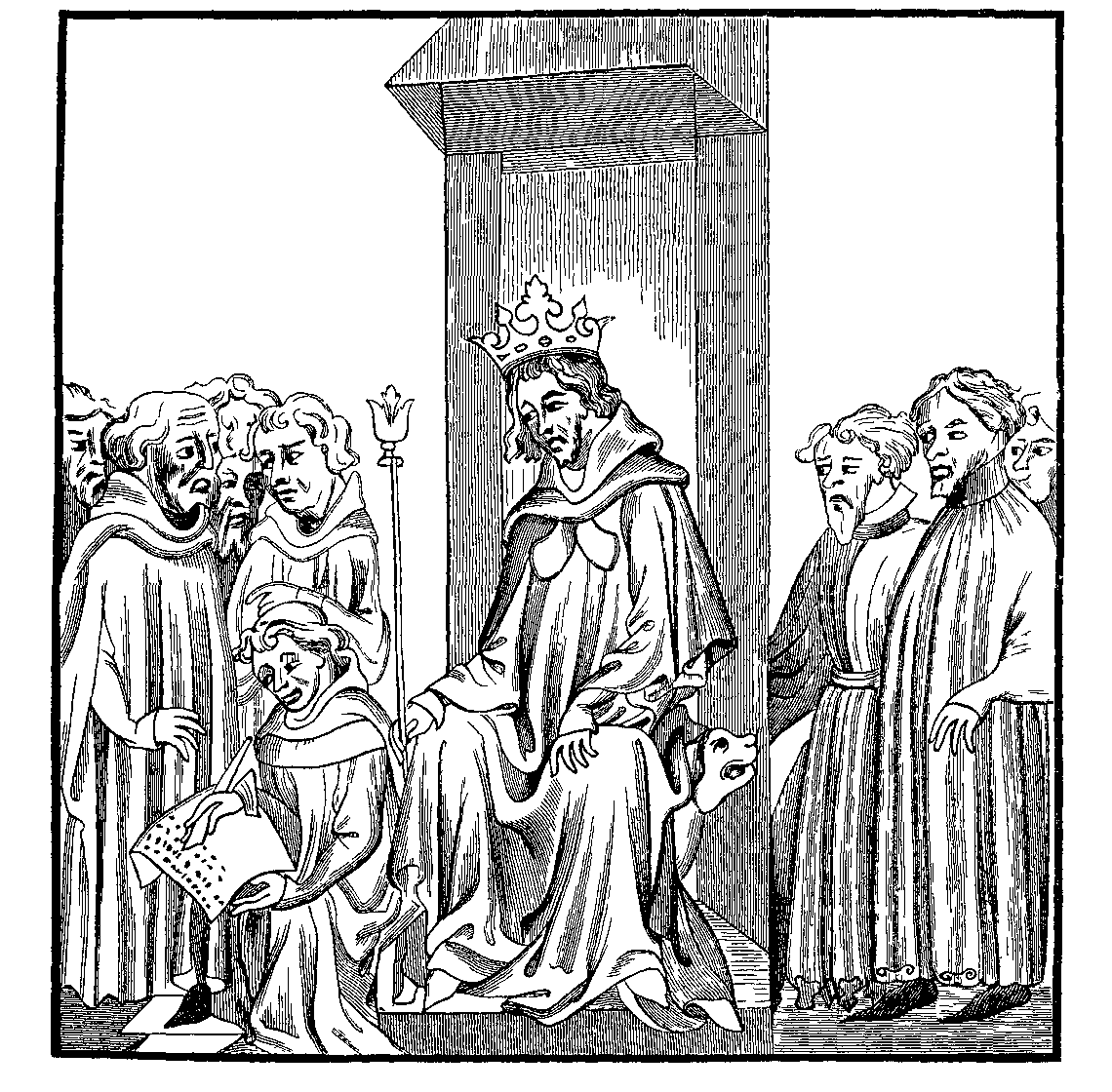 The King of the Franks dictates the Salic Law from the Chronicles of St. Denis