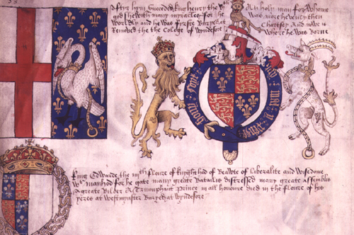 Manuscript page showing Henry VI's coat of arms