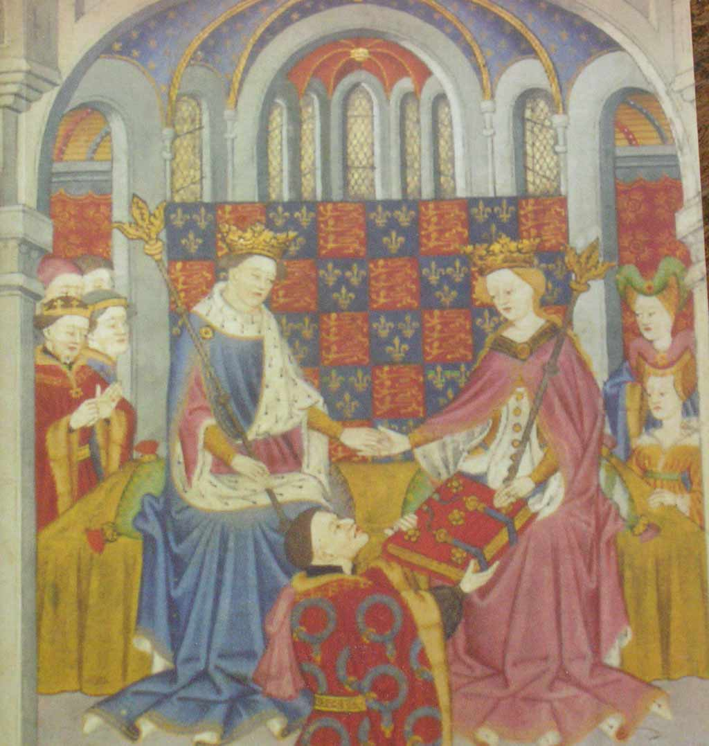 Contemporary Manuscript page depicting the marriage of Henry VI and Margaret of Anjou