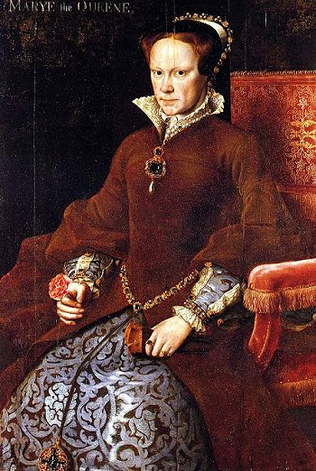Mary as queen. The jewel around her neck was a gift from her husband, Philip of Spain.