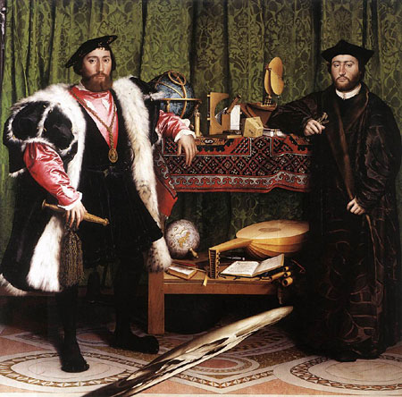 The Ambassadors by Hans Holbein the Younger, a famous English Renaissance painting. The skull at the bottom can be clearly seen from an angle.